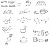 Black And White Line Drawing Kitchenware Icon Set, Create By Vector
