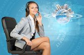 Businesswoman in headset and Globe