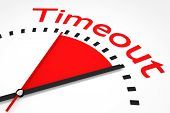 Clock With Red Seconds Hand Area Timeout Illustration