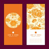 Vector golden art flowers vertical round frame pattern invitation greeting cards set