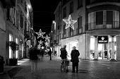 Vigevano night view during Christmas time. Black and white photo