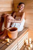 Woman in sauna