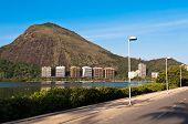 stock photo of bike path  - Empty Bike Path with Mountain Landscape in Rio de Janeiro - JPG