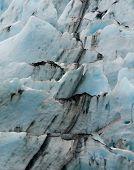 Broken Black Line Up Glacier Ice