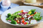 Red Quinoa With Spinach And Feta Cheese Salad