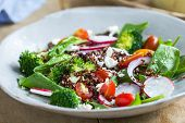 pic of quinoa  - Red Quinoa with spinach and feta cheese salad by tahini dressing - JPG