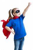 kid girl plays superhero