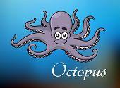 Funny cartoon baby octopus