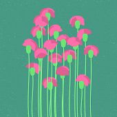 foto of carnation  - Pink carnation in flat style - JPG