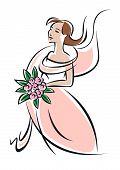 Pretty feminine bride or bridesmaid in pink dress