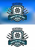 image of trident  - Seafarer and King Of The Sea banner or emblem with crossed tridents behind a shield - JPG