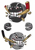 Angry evil hockey puck chomping a stick