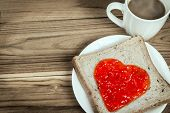 Delicious Slice Of Bread With Strawberry Jam Heart Shape