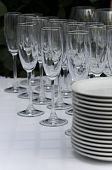 Clean Wineglasses  With Plates