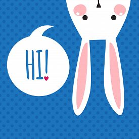 stock photo of bunny rabbit  - Greeting card with with white Easter rabbit - JPG