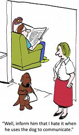 picture of disrespect  - Cartoon of husband and wife having an argument and using the dog as mediator - JPG