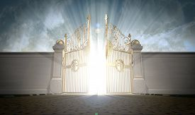 stock photo of entryway  - A depiction of the pearly gates of heaven opening with the bright side of heaven contrasting with the duller foreground - JPG