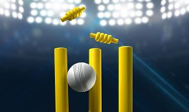 picture of cricket shots  - A white leather cricket ball hitting yellow wooden cricket wickets on a floodlit stadium background at night - JPG