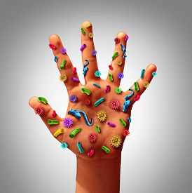 pic of risk  - Hand germs disease spread and the dangers of spreading illness in public as a health care risk concept to not wash your hands as dirty infected fingers and palm with microscopic viruses and bacteria - JPG