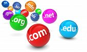 picture of bouncing  - Website and Internet domain names web concept with domains sign and text on colorful bouncing glossy spheres isolated on white background - JPG