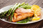 stock photo of salmon steak  - Grilled salmon and asparagus  - JPG