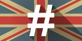 image of hash  - Illustration of a UK flag icon with a hash tag - JPG