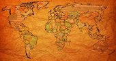 pic of flags world  - austria flag on old vintage world map with national borders - JPG