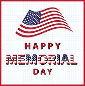 picture of memorial  - happy memorial day usa with american flag - JPG