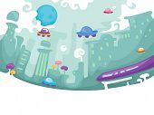 picture of floating  - Futuristic Illustration of a City with Floating Cars - JPG