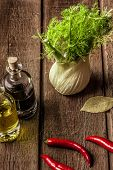 stock photo of bay leaf  - fresh fennel full of vitamins and fibers on wooden table - JPG