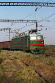 picture of locomotive  - Locomotive with the composition of freight wagons - JPG
