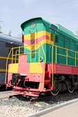 stock photo of locomotive  - Photo of Russian rail road locomotive in Samara - JPG