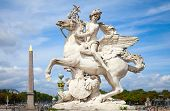 stock photo of pegasus  - Mercury riding Pegasus sculpture of Tuilerie Garden Paris France - JPG