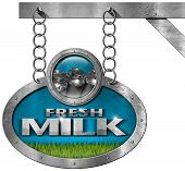 picture of milk  - Metallic sign with text Fresh milk steel cans for the transport of milk and a green grass - JPG