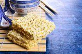 picture of briquette  - Background of briquette dry noodles Oriental type - JPG
