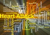 stock photo of ami  - Background concept wordcloud illustration of heart attack glowing light - JPG
