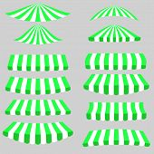 stock photo of canopy roof  - Green White Tents Icons Isolated on Grey Background - JPG
