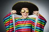 stock photo of karaoke  - Funny mexican singing in karaoke - JPG