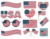 stock photo of election campaign  - Set of American flags and hearts vector set of 4th july american independence day background - JPG