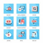picture of qr-code  - Vector set of flat shopping and commerce icons - JPG