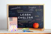 stock photo of grammar  - Blackboard in an English class - JPG