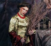 image of witch ball  - young woman wearing ball dress with bright make up holding  dry branches - JPG