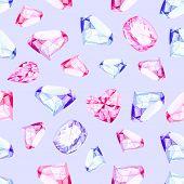 picture of precious stone  - Delicate precious stones watercolor seamless vector pattern - JPG