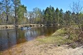 picture of kayak  - Kayak tourists on spring river - JPG