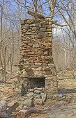 picture of chimney  - Chimney from a Ruined Cabin in the Wilderness in Shenandoah National Park in Virginia - JPG