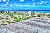 image of pedestrian crossing  - pedestrian crossing by the sea in hdr - JPG