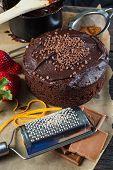 image of tort  - homemade chocolate torte cake on baking paper - JPG