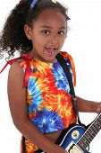 Beautiful Six Year Old Girl With Blue Electric Guitar Over White