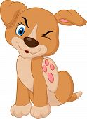 foto of pit-bull  - Vector illustration of Cartoon A young Pit Bull puppy scratching an itch - JPG