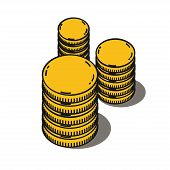 stock photo of golden coin  - Stacks of golden coins isolated on a white background - JPG